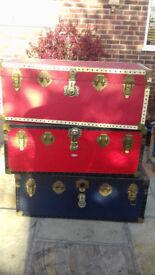 Storage Trunks (£30 each), Toy Box, Vintage Luggage - Red/White, Red/Black, Blue/Black