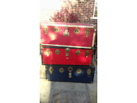 Storage Trunks (£30 each), Toy Box, Vintage Luggage - Red/White, Red/Black, Blue/Black