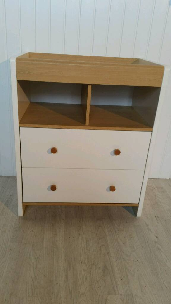 White and Oak Coloured Changing Unit