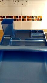 Two tier metallic blue letter tray