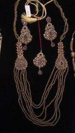 Bridal Ruby gemstone Maala with matching earrings and Teeka