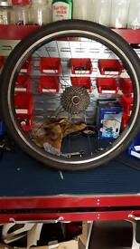 """26"""" rear wheel with tyre, tube and cassette"""