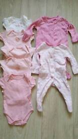 Baby grows and vests. First size