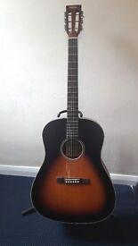 Vintage VE660VB Electro Acoustic Guitar Vintage Sunburst and carry case