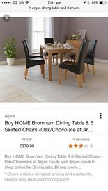 Oak style table and 6 leather chairs