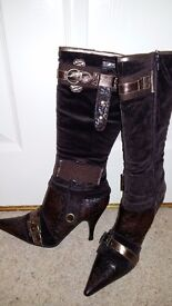 Ladies Brown Boots very decorative high heels size 4