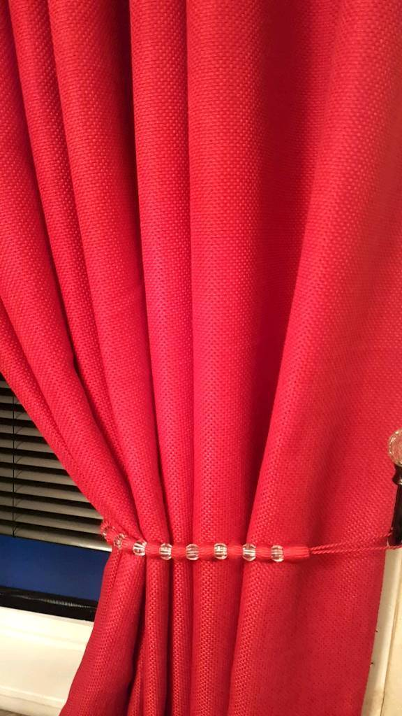 2 × pairs of next fully lined eyelets red curtains with matching tiebacks in 66/90 inch drop