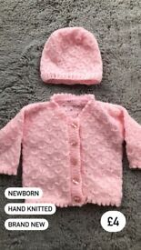 Hand knitted cardigan and hat BRAND NEW