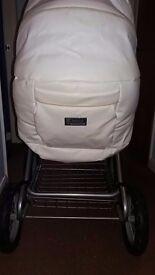 Cream leather babystyle 3 in 1 pram