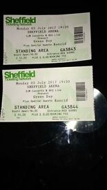 2 x Greenday Concert Tickets Sheffield Arena 3rd July 17 Standing