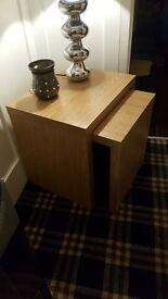Oak nest of tables and oak book case or tv unit stand