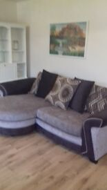 brown and gold sofa, 1 year old, smoke free home not a mark on it