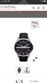 Armani exchange black leather strap watch