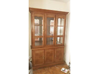 large oak glass display cabinet with cupboard