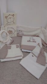 Mamas and papas bed bundle including Moses basket musical swing and full bedding set