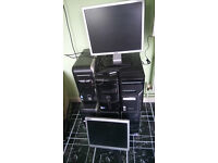 6 x desktop towers with all cables and 2 x monitors