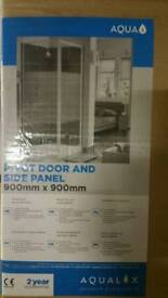 Shower screen Aqua pivot door and side panel complete set with tray brand new
