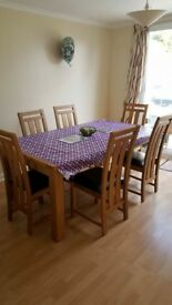 Sofa and dinner table with 6 chairs