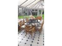 Beautiful wicker and glass table and chairs - bargain price!