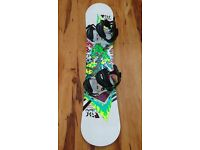 Unisex kids 120 cm Ride Lowride twin tip snowboard with Elan bindings