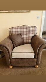 2 seater + armchair with reversable cushions
