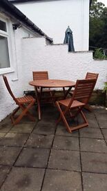 Garden furniture - hardwood table and 4 chairs