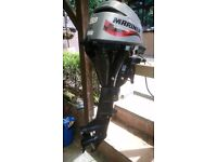 Mariner 9.9hp 4 stroke outboard engine with remote controls, steering and fuel tank.