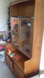 *free* Glass fronted mahogany cabinet and cupboard