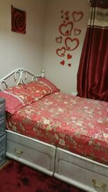 Double bed with mattress DIVAN..curtains both Excellent condition