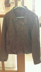 Girls f&f dark grey fake leather jacket size 9-10years