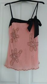 Gorgeous Belle by Oasis Chiffon & Sequinned strappy top, size 12