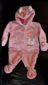 Pink John Lewis pramsuit / snowsuit 3-6 months