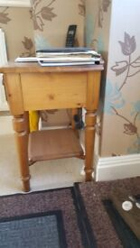 Pine Telephone Table (incl. 1 drawer & bottom shelf)