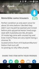 Motorbike camo trousers