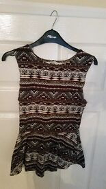 NEW WITHOUT TAG Peplum Aztec top