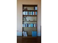 Oak laminate bookshelves, 5 adjustable shelves. 201cm x 90cm x 28cm can flat pack £20