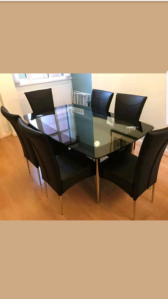 Harvey's BOAT range glass dining table and 6 matching ...