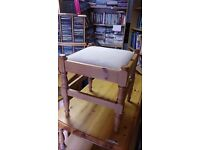 Small Pine Dressing Table Stool in Good Condition