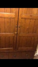 Deep, wooden oak wardrobe with hanging rail and lower drawers original price paid for £550