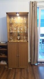 Matching Glass Display Cabinet AND Large Oak Effect Sideboard