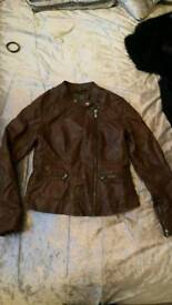 New look leather look jacket on brown