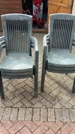 6 green highback garden chairs