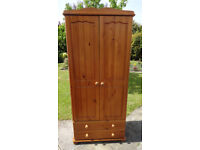 Solid pine wardrobe with 2 drawers