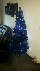 Slim Black 6ft tree with lights used once
