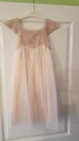 2 x Monsoon Flowergirl Dresses. Dusty Pink Sparkle. 4yrs and 7yrs.