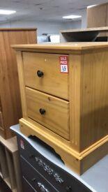 Warvick 2 drawer bedside - SOlid wood