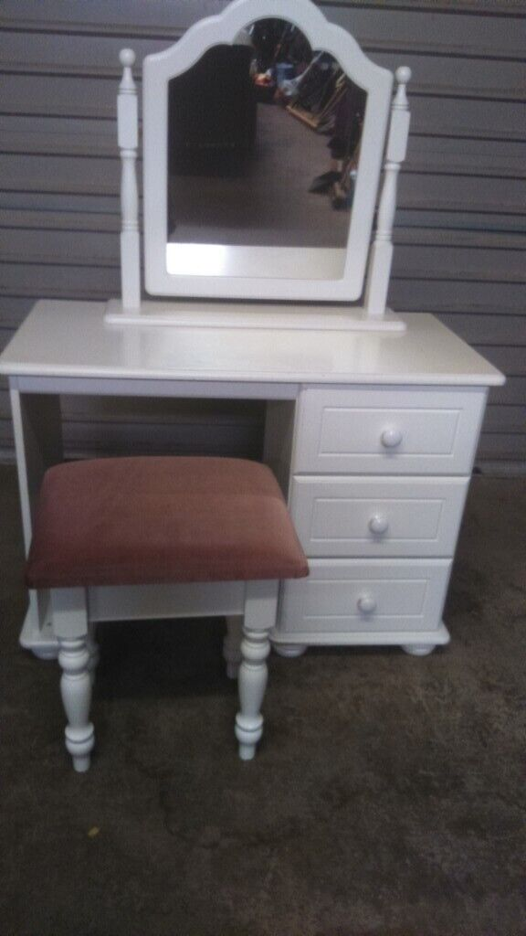 White Solid Wood Dresser With Seat And Mirror In Dromore County Down Gumtree