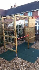 8ft by 6ft by 2ft solid wooden climbing frame. LARGE ITEM. MUST BE ABLE TO COLLECT.