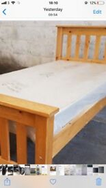 3 quarter wooden bed with mattress