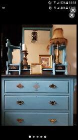 Vintage solid oak mirrored dresser